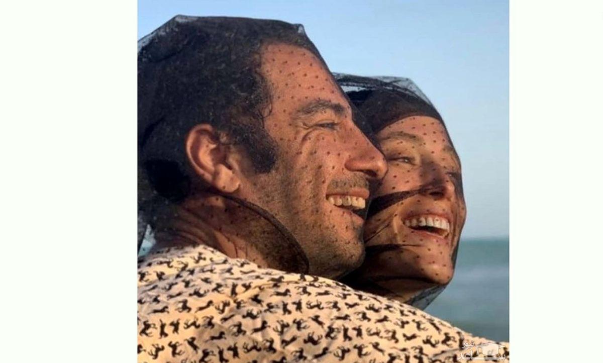 ژست عاشقانه نوید محمدزاده و فرشته حسینی در کشتی + عکس
