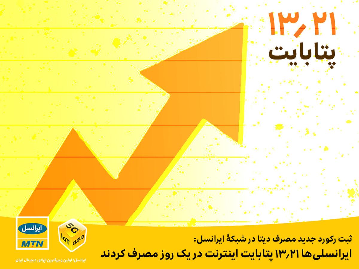 ایرانسلیها ۱۳.۲۱ پتابایت اینترنت در یک روز مصرف کردند