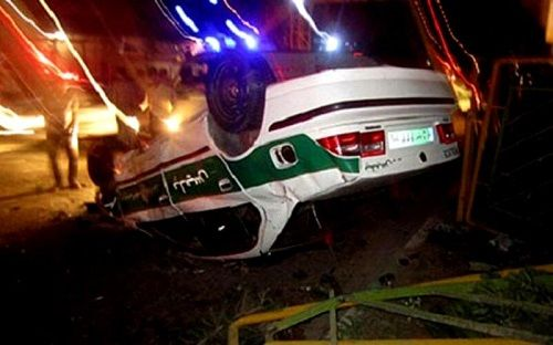 واژگونی خودروی انتظامی در کرمان