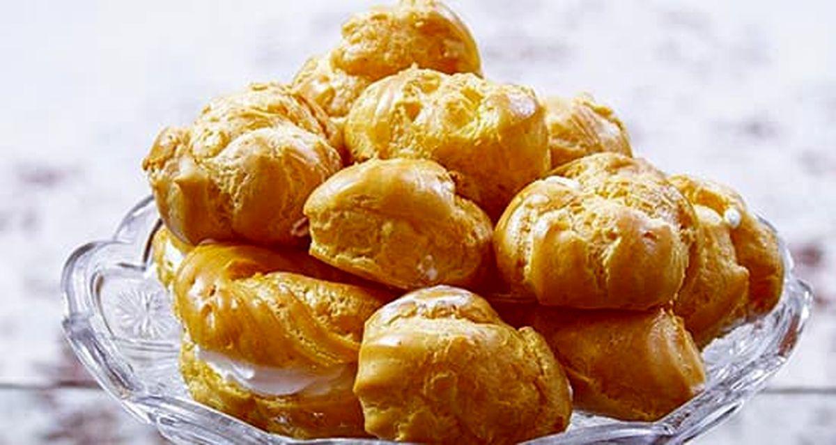 دستور پخت شیرینی نان خامه ای +آموزش