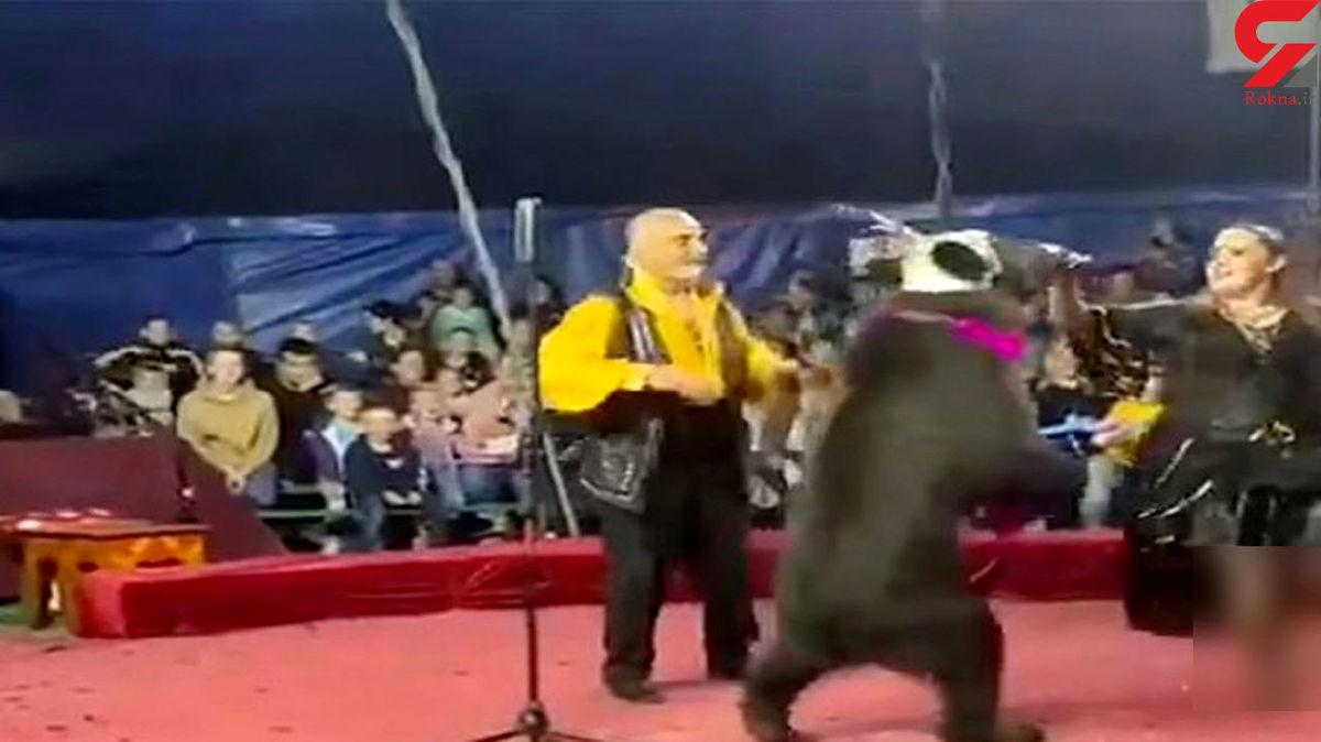 حمله وحشتناک خرس در سیرک به مربی خود + فیلم