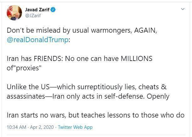 ایران هیچ جنگی را آغاز نمیکند، بلکه کسانی را که مرتکب آن میشوند، ادب میکند