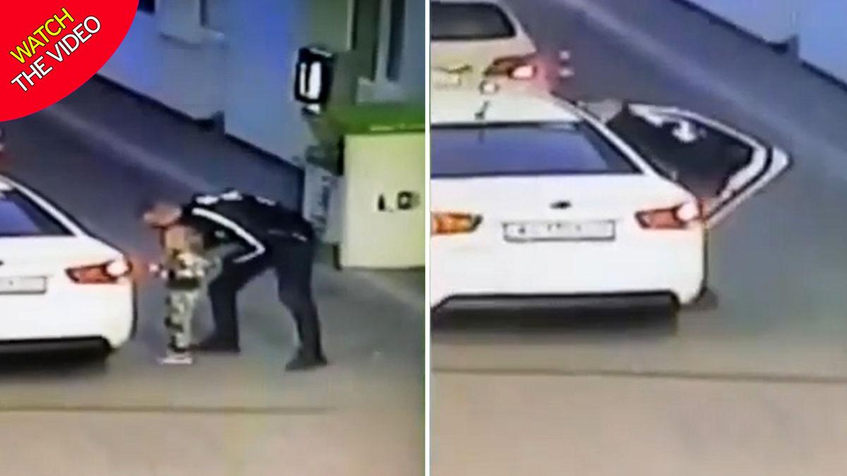 لحظه ربوده شدن کودک خردسال در پمپ بنزین + فیلم