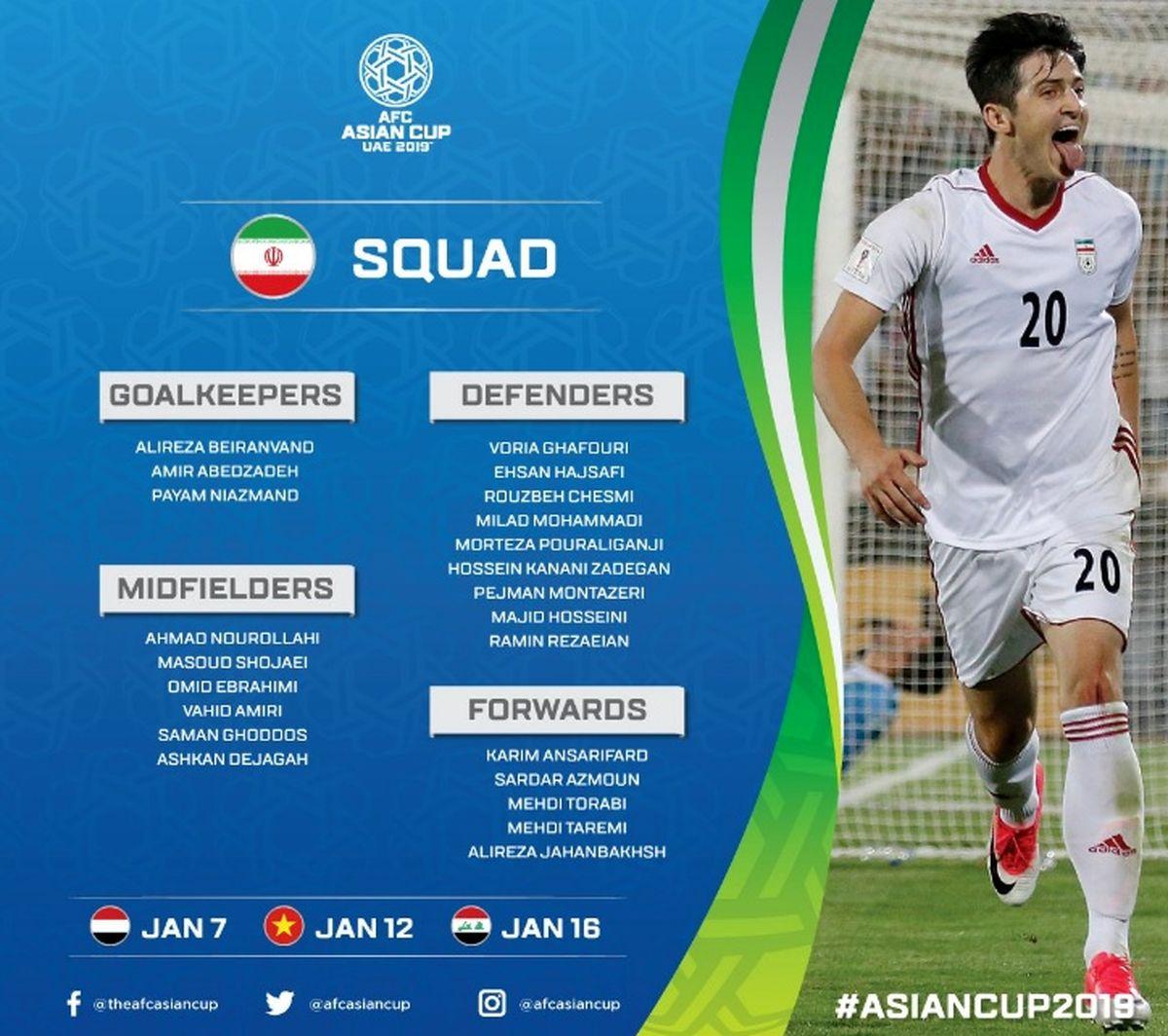 لیست نهایی بازیکنان تیم ملی فوتبال برای جام ملتهای آسیا + عکس