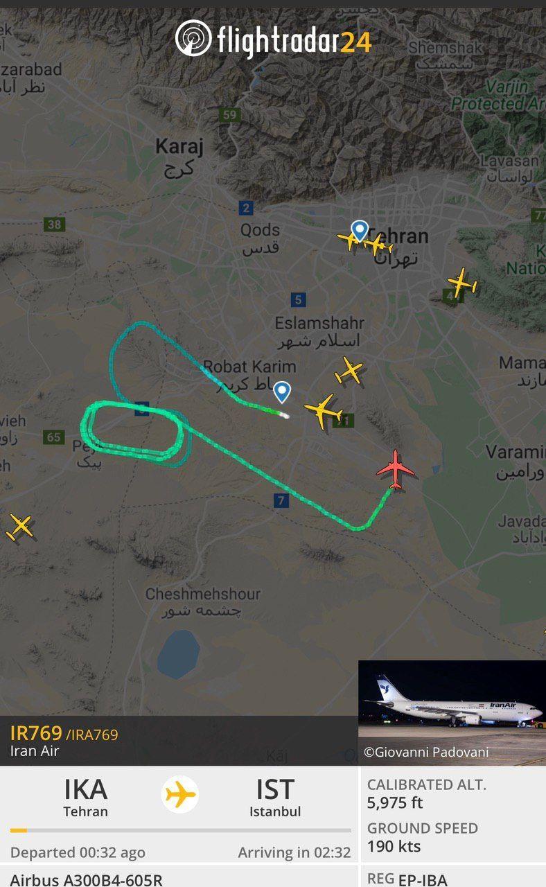 هواپیمای تهران استانبول بعد از پرواز به فرودگاه امام خمینی برگشت