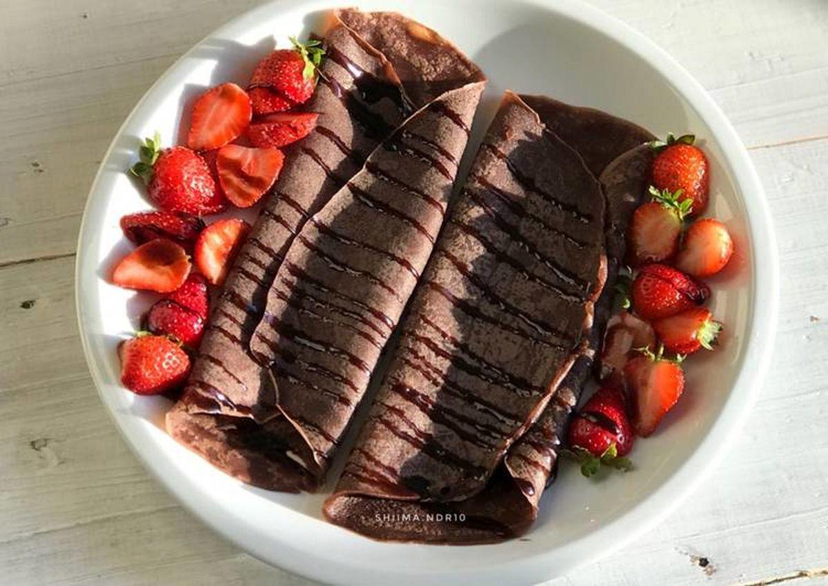 طرز تهیه کرپ شکلات و کره بادام خانگی + دستورالعمل