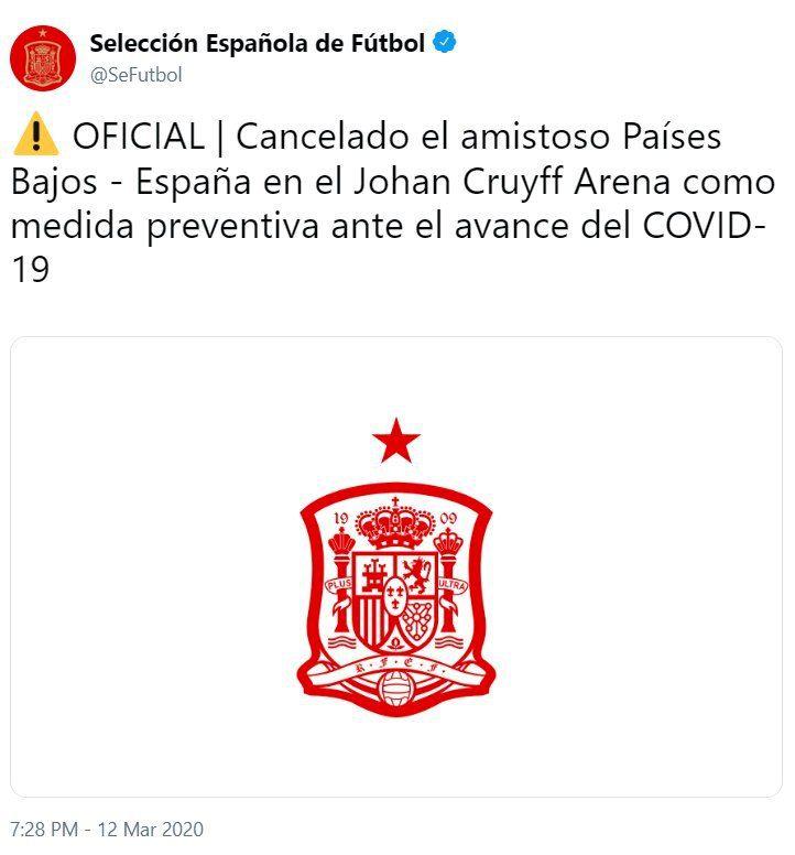 کرونا دیدار تیم های فوتبال هلند و اسپانیا را لغو کرد