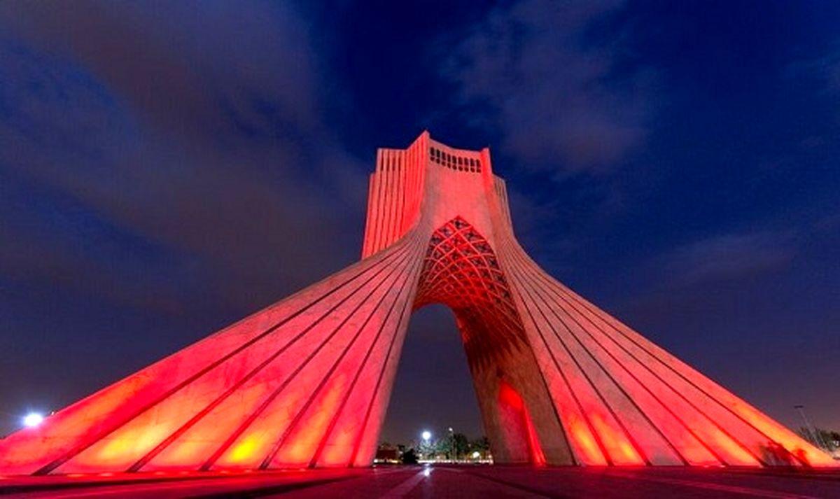 برج آزادی تهران قرمز میشود