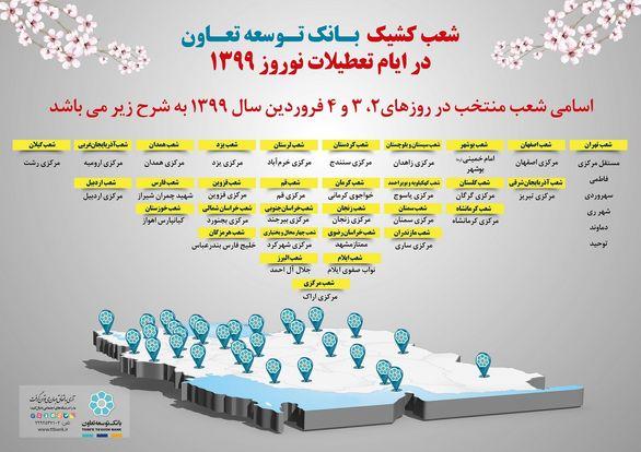 اعلام ساعت کار شعب کشیک بانک توسعه تعاون در تعطیلات نوروز 1399