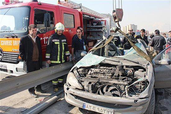 تصادف زنجیرهای مرگبار در اتوبان کرج - قزوین + تصاویر