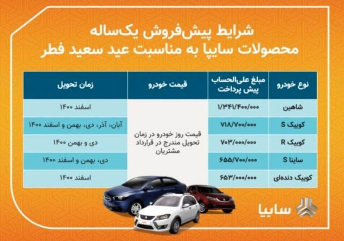 فروش فوق العاده ۴ محصول گروه خودروسازی سایپا