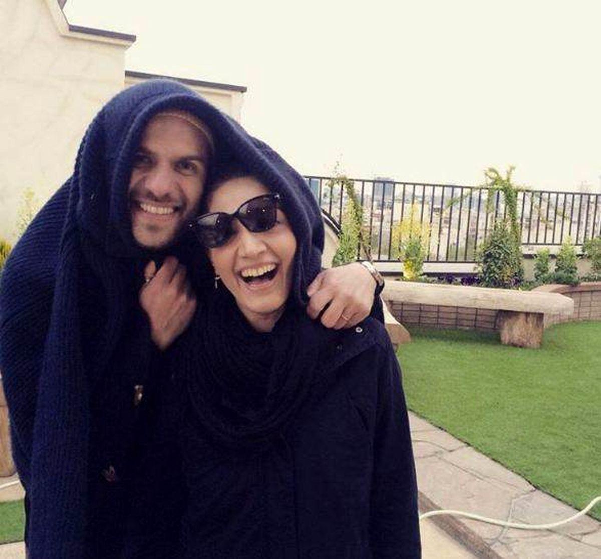 ژست مینا ساداتی و همسرش + عکس