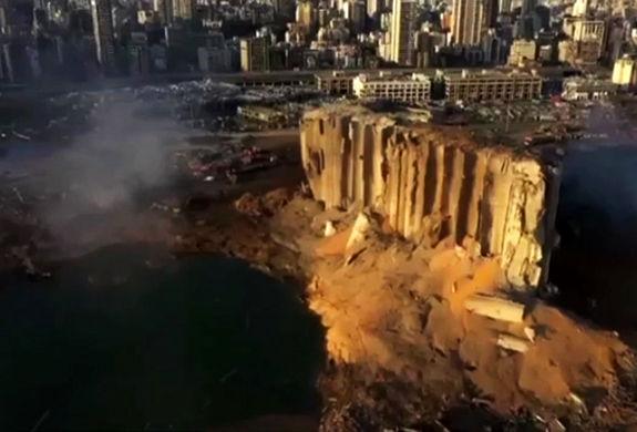 تصاویر هوایی از بندر بیروت پس از انفجار + فیلم