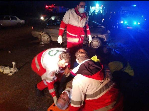 حادثه تصادف سه خودرو در محور صومعه سرا به ضیابر ۱۰ مصدوم برجای گذاشت